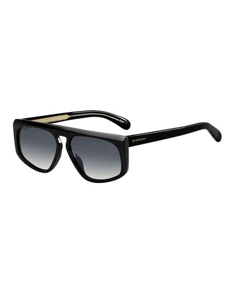 Givenchy Men's Universal Fit Sharp-Edge Plastic Sunglasses