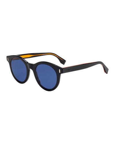 Men's Round Solid Plastic Sunglasses