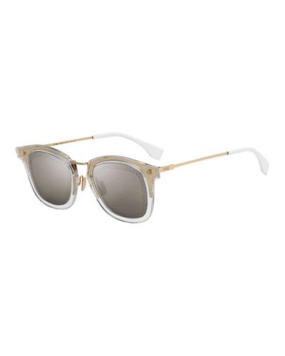 Men's Square Translucent Plastic Sunglasses