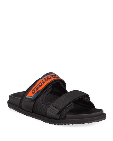 Dsquared2 Men's Grip-Strap Neon Logo Sandals
