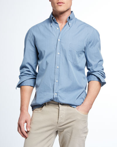 21a03a444ac Promotion Men s Basic Fit Chambray Sport Shirt Quick Look. Brunello  Cucinelli