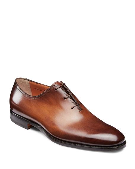 Santoni Shoes MEN'S LAURENCE ONE-PIECE LEATHER DRESS SHOES