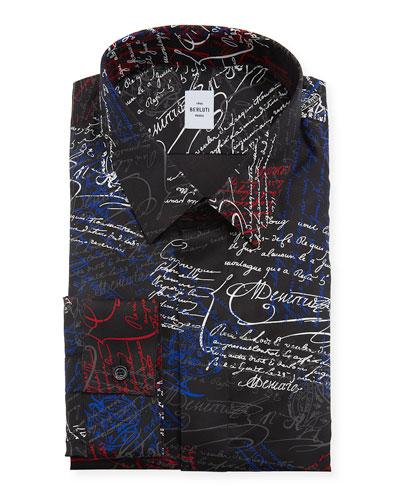 Men's Scritto Pattern Silk Dress Shirt