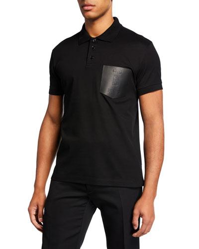 Men's Leather-Trim Polo Shirt