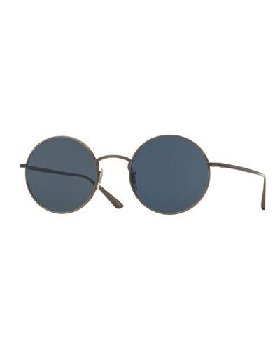 Men's After Midnight Round Metal Sunglasses