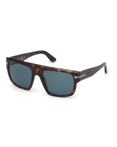 Men's Alessio Flat-Top Acetate Sunglasses  Brown