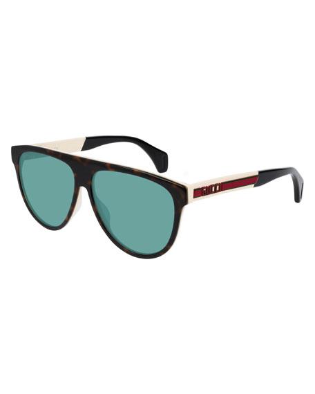 f467e7653 Gucci Men's Nylon Flat-Top Rounded Sunglasses