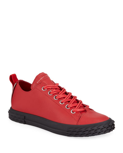 Men's Blabber Low-Top Leather Sneakers  Red