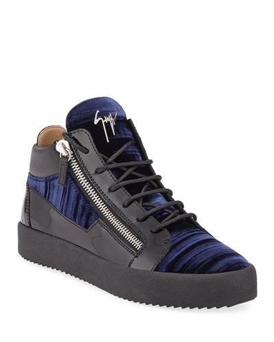 Men's Velvet Mid-Top Zip Sneakers