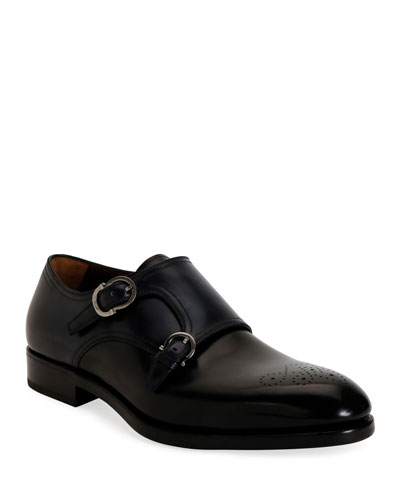 Men's Brighton Tramezza Double-Monk Leather Loafers