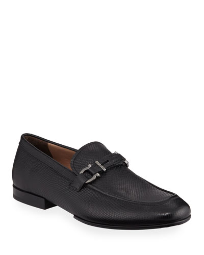 Men's Tucker Gancini Pebbled Leather Loafers