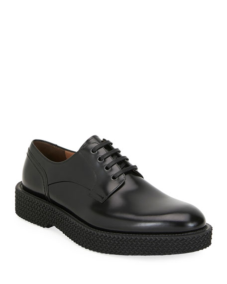 Men's Chunky Textured-Sole Leather Derby Shoes