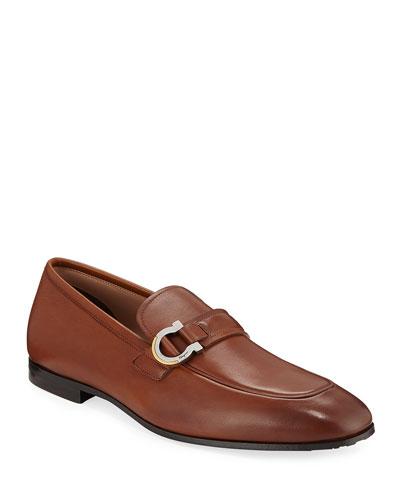 Men's Leather Gancio Bit Loafers