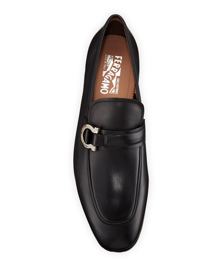 Men's Leather Gancio Bit Loafers