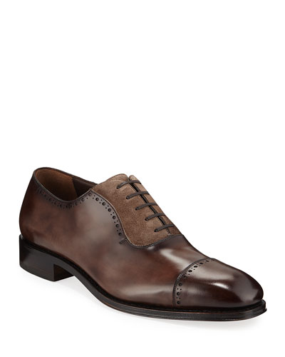 3549cb7e63 Men's Brawell Tramezza Two-Tone Leather Derby Dress Shoes Quick Look. Salvatore  Ferragamo