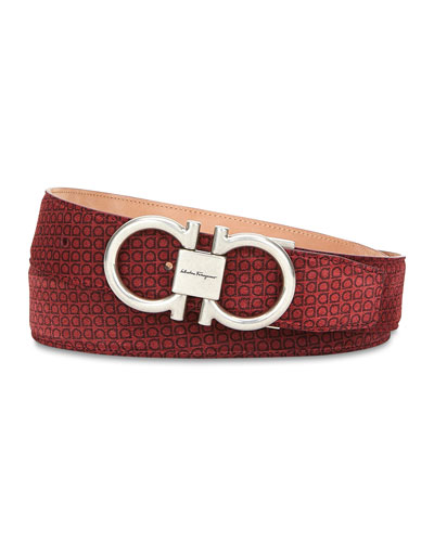 Men's Gancini-Print Suede Belt