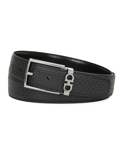 Men's Gancini-Embossed Leather Belt