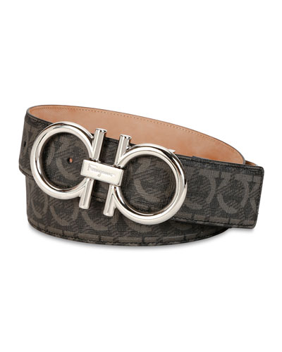 Men's Oversize Allover Gancini-Print Leather Belt