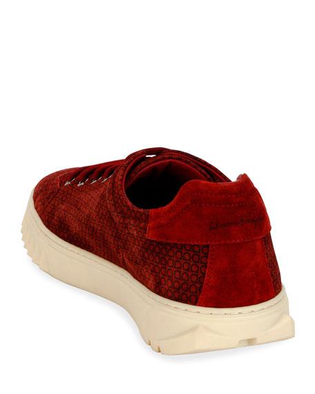 Men's Cube Gancini-Print Suede Sneakers
