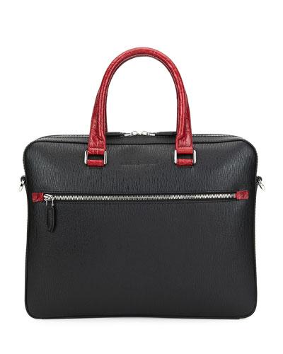 Men's Crocodile Revival Two-Tone Leather Briefcase