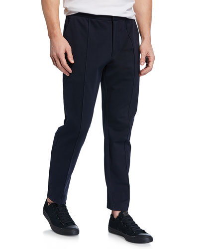 Men's Pintuck Structured Cotton Track Pants