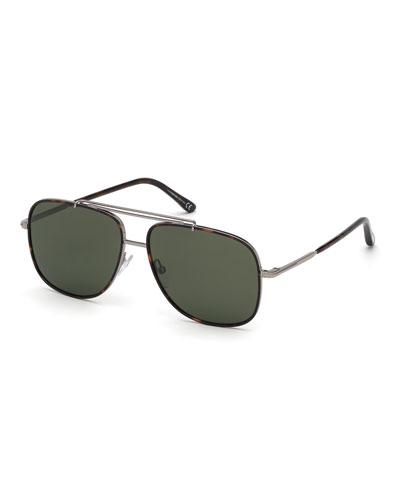 Men's Ruthenium Metal Aviator Sunglasses