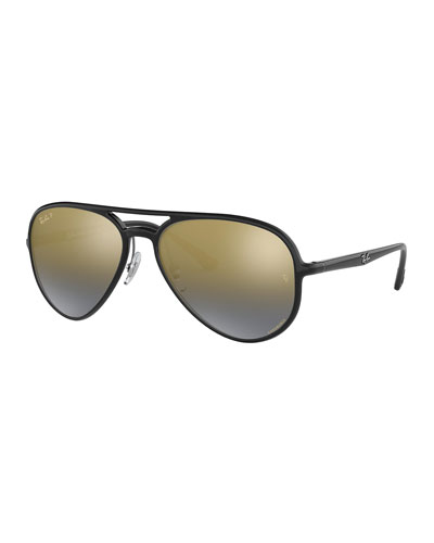 Men's Chromance Mirrored Propionate Aviator Sunglasses