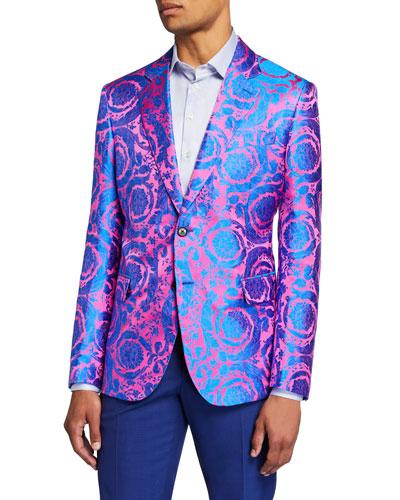 Men's Multi-Pattern Neon Jacquard Formal Jacket