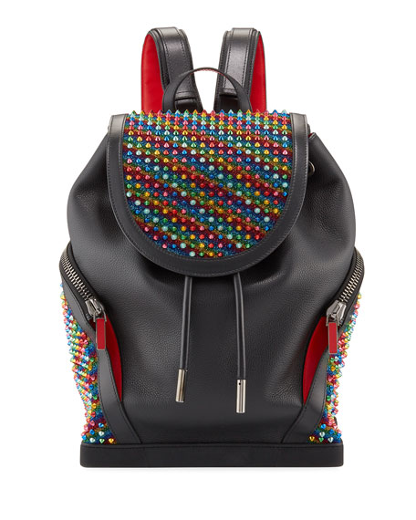 Men's Explorafunk Rainbow Spiked Leather Backpack