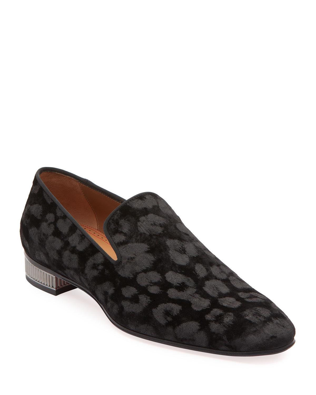 best website 969b7 a1a26 Men's Leopard-Pattern Velvet Loafers