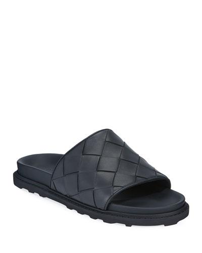 Men's Intrecciato Leather Pool Slides
