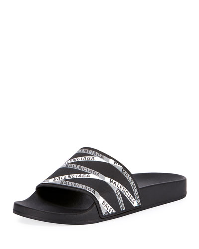 Men's Monogram Striped Rubber Pool Slides