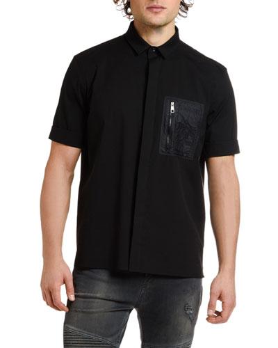 Men's Nylon-Pocket Short-Sleeve Sport Shirt