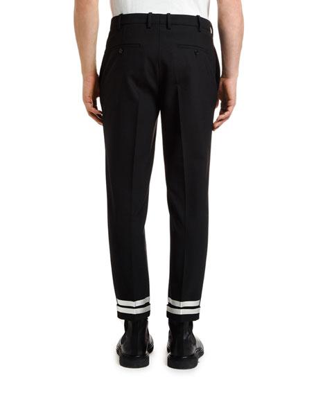 Men's Wool Trousers with Striped Hem
