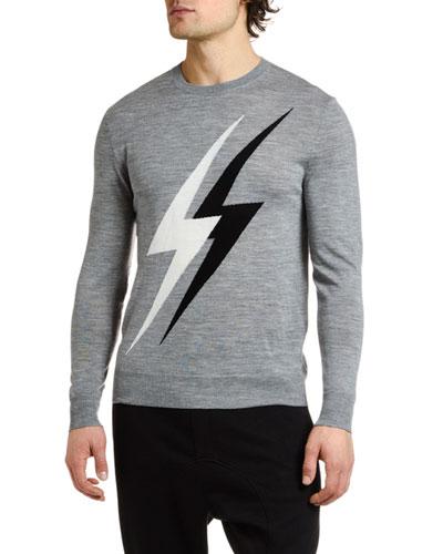 Men's Lightning Bolts Crewneck Sweater