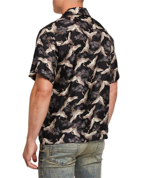 Men's Cranes Graphic Short-Sleeve Sport Shirt