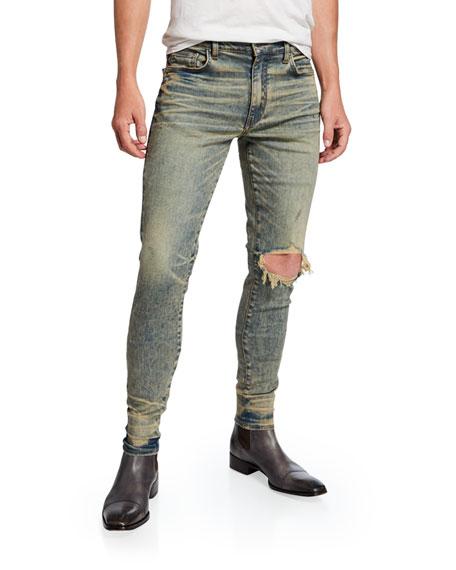 Men's Broken Ripped-Knee Skinny Jeans