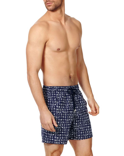 Men's Fortune Teller Turtle Swim Trunks