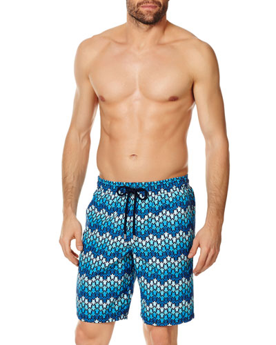 363fe91a97 Men's Herringbone Turtle Print Swim Trunks Quick Look. Vilebrequin
