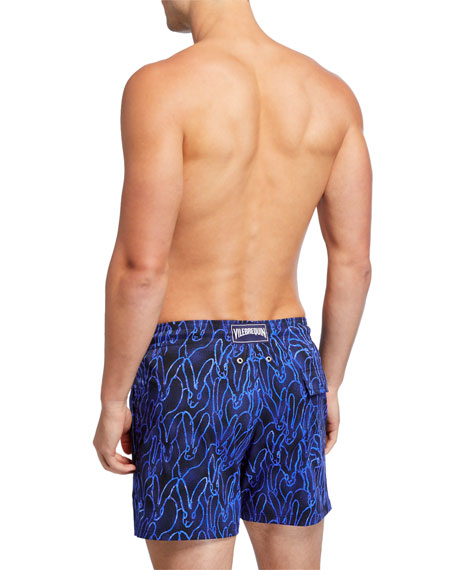 Men's Moorise Graphic Neon-Print Swim Trunks