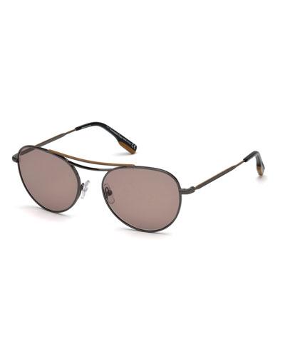 382c2ec16135 Men s Two-Tone Metal Aviator Sunglasses Quick Look. Ermenegildo Zegna