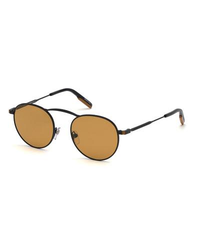 075ac7fd4117 Men s Round Two-Tone Metal Sunglasses Quick Look. Ermenegildo Zegna