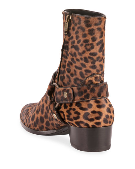 e0673f1435c6 Saint Laurent Men's Wyatt Leopard-Print Harness Boots