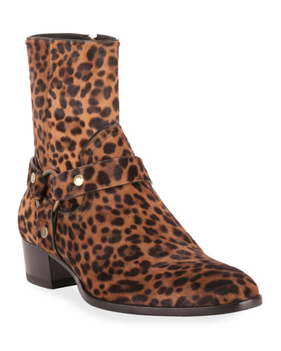 Men's Wyatt Leopard-Print Harness Boots