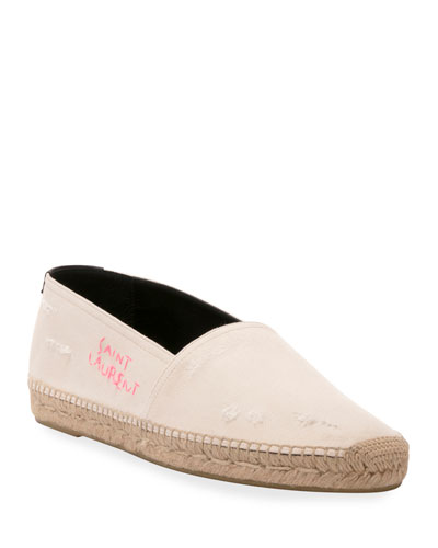 Men's Embroidered Cotton Espadrille Slip-Ons