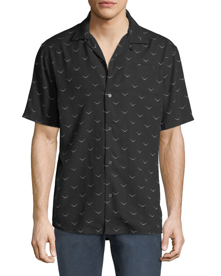 Hudson Men's Camp-Collar Printed Short-Sleeve Sport Shirt