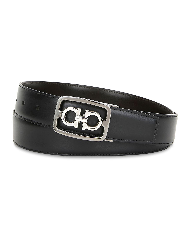 Salvatore Ferragamo Belts Men's Hickory Gancini Buckle Leather Belt
