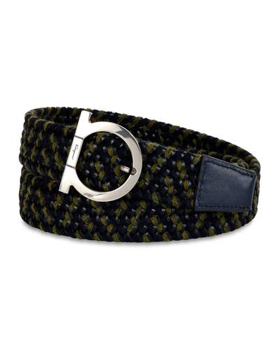 Men's Woven Fabric  & Leather Gancio Belt