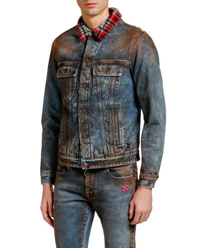 Men's Dirty Jean Jacket w/ Plaid Faux Shearling