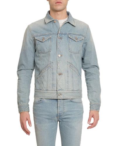 Men's Back-Yoke Embroidered Denim Jacket